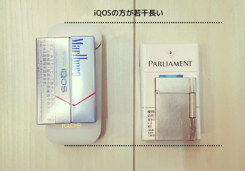 iQOSの方が普通のたばこより若干長い