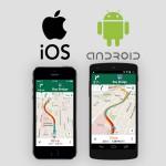 iPhoneならiOS標準の地図アプリ、AndroidならGoogleマップアプリを起動して経路を表示する